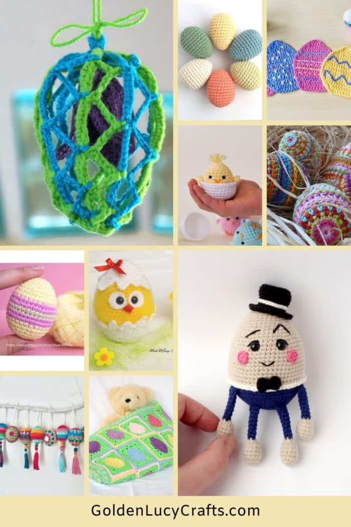 Crocheted Easter eggs photo collage.