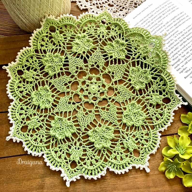 Crocheted green doily for St. Patrick's Day.