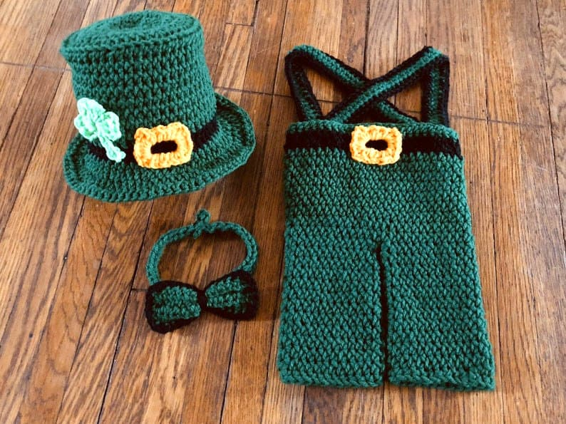 Crocheted Leprechaun baby costume.