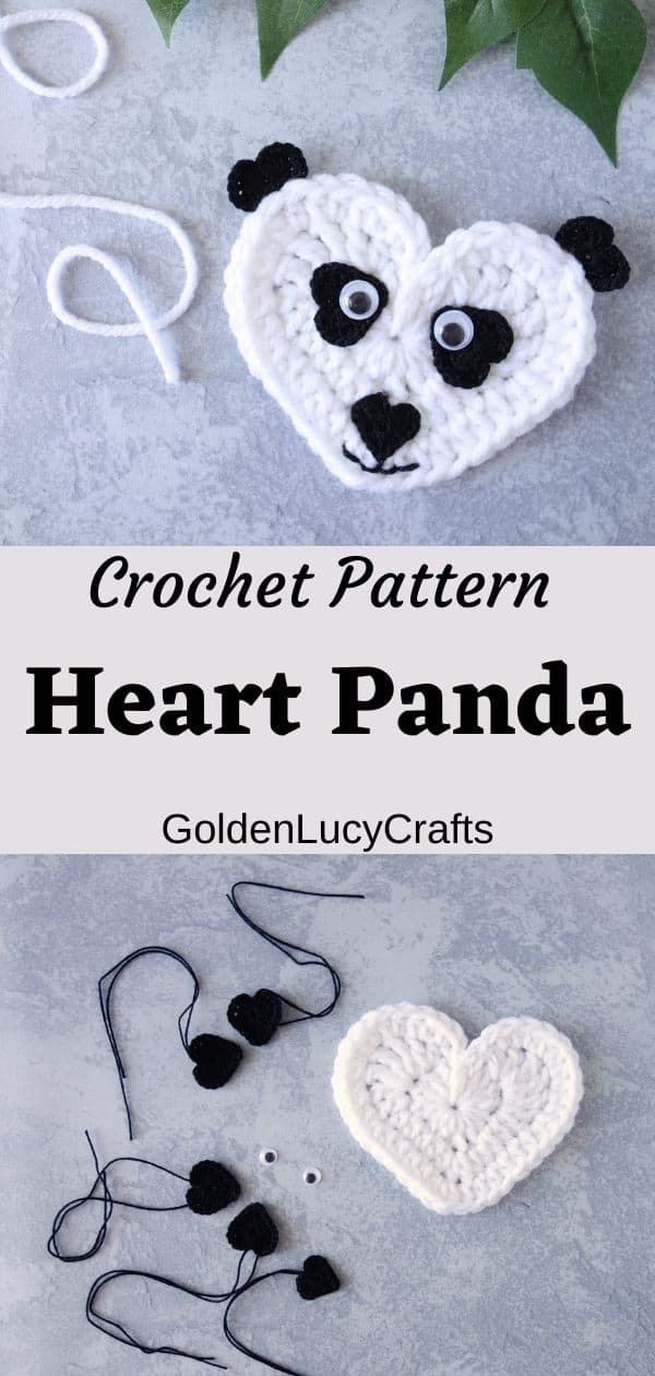 Crochet heart-shaped panda applique on top, parts of the applique on the bottom, overlay text crochet patter heart panda applique goldenlucycrafts.