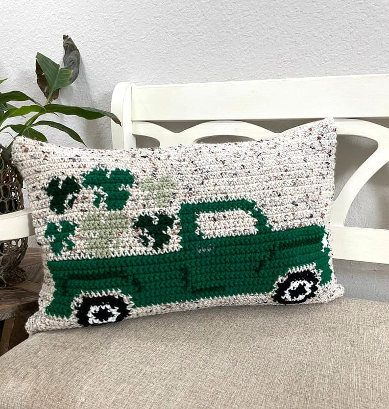 St. Patrick's vintage truck crocheted pillow.