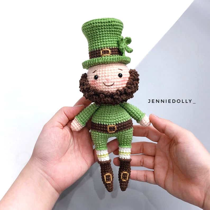 St Patrick's Day crocheted Leprechaun doll.