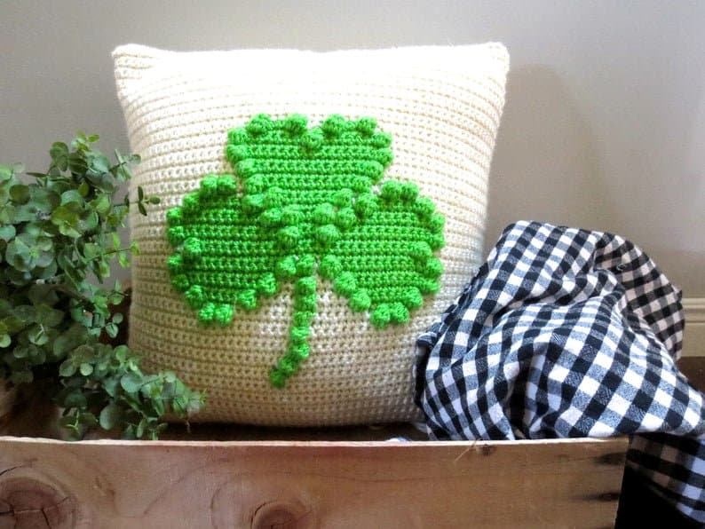Crocheted shamrock pillow for St. Patrick's Day.