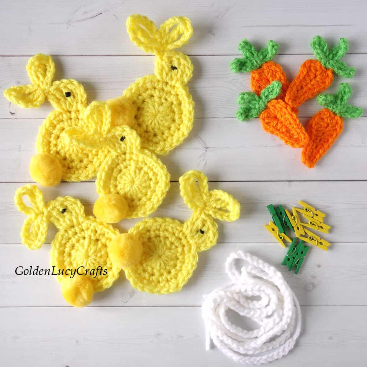 Pieces to make crocheted Easter garland.