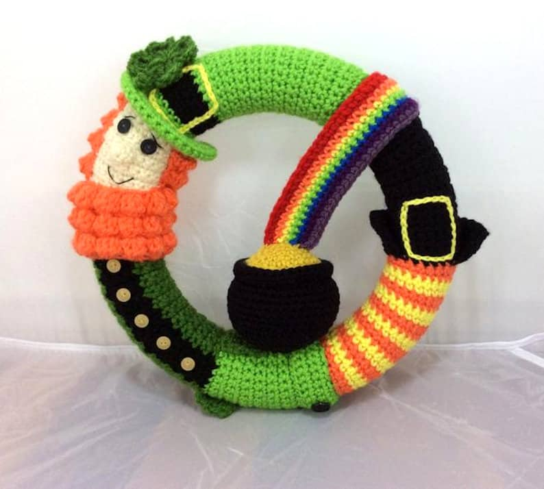 Crocheted wreath for St. Patrick's Day.