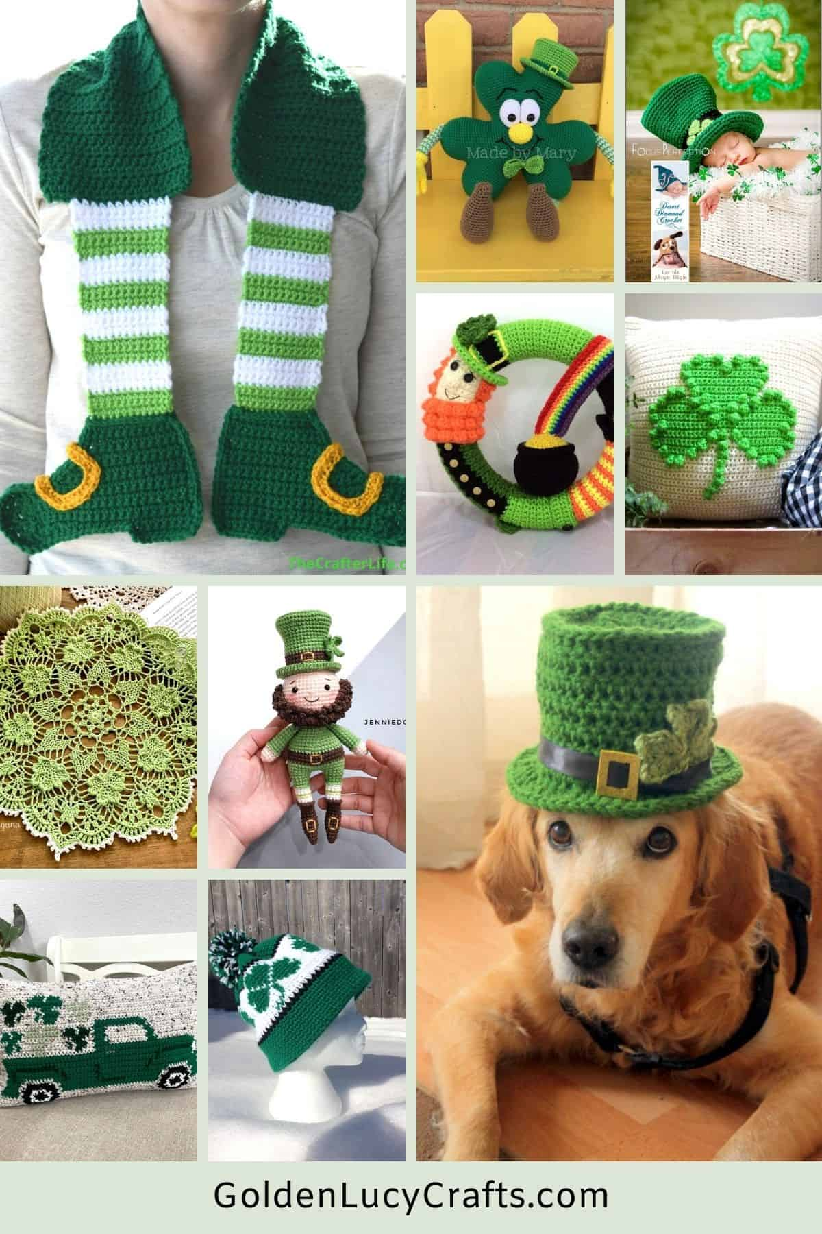 Crochet for St. Patrick's Day picture collage.