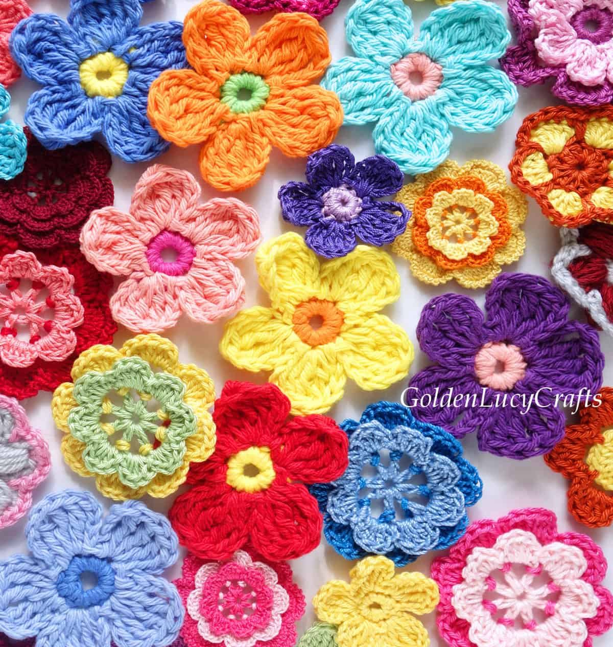 Bunch of crocheted flowers.