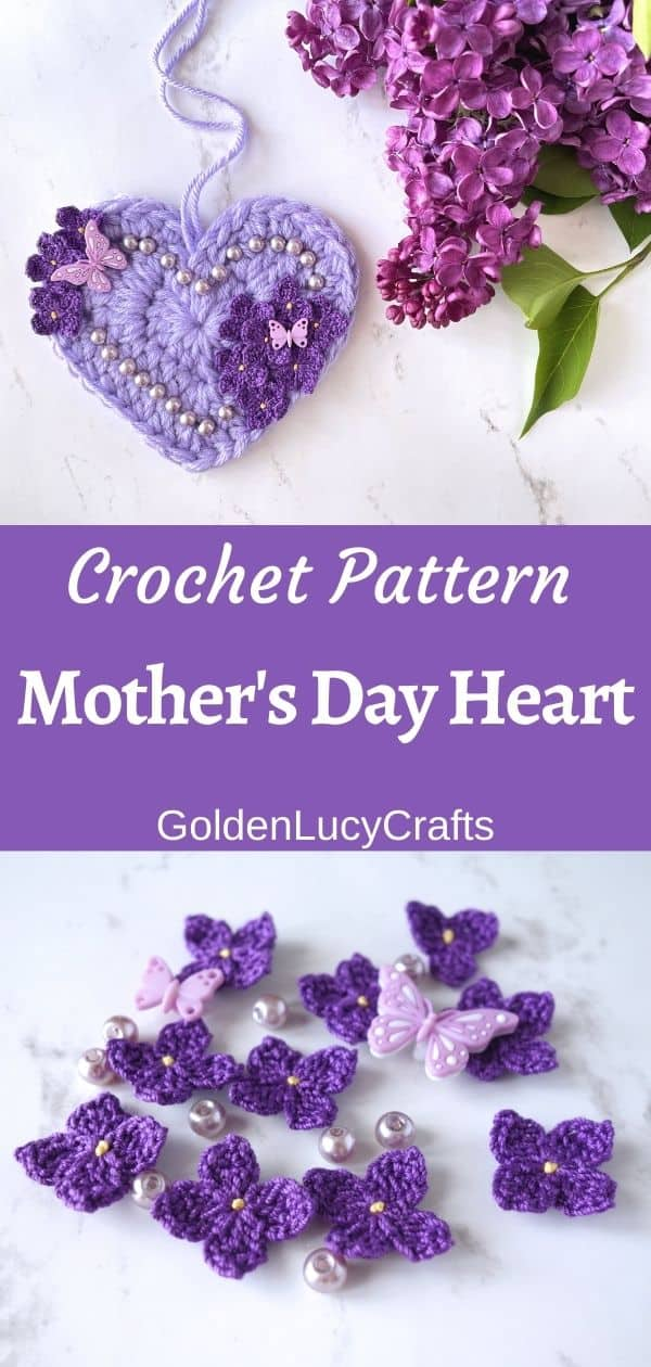 Crocheted heart embellished with crochet lilac flowers and beads.