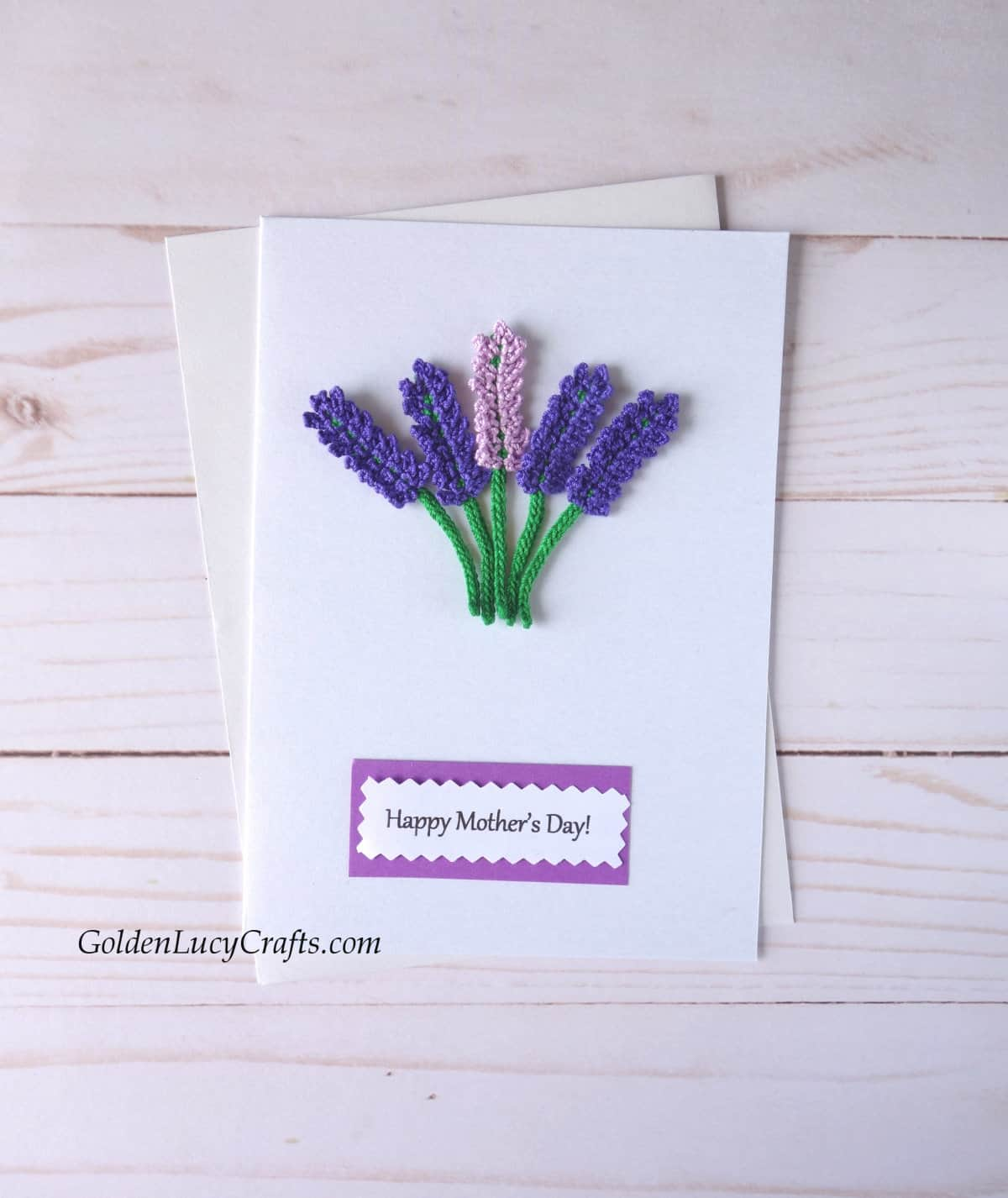 Mother's Day card with crochet lavender flowers.
