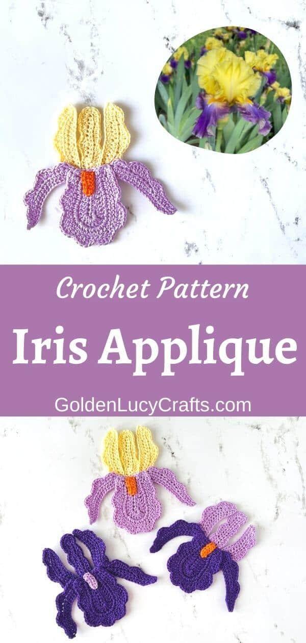 Crochet iris applique on top, three crochet iris appliques on the bottom.