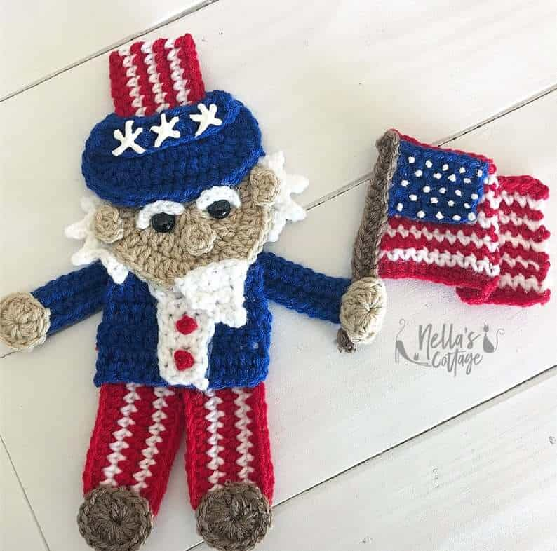 Crocheted applique for the 4th of July - uncle Sam.