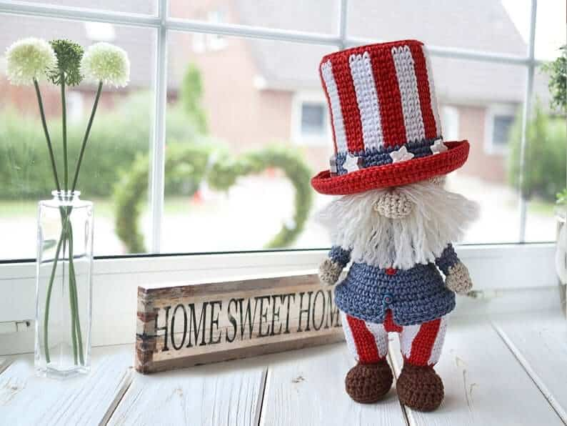 Crocheted gnome for the 4th of July.