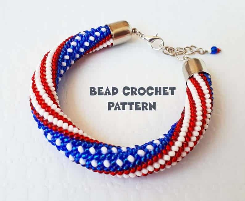Bracelet made with red, white and blue beads.