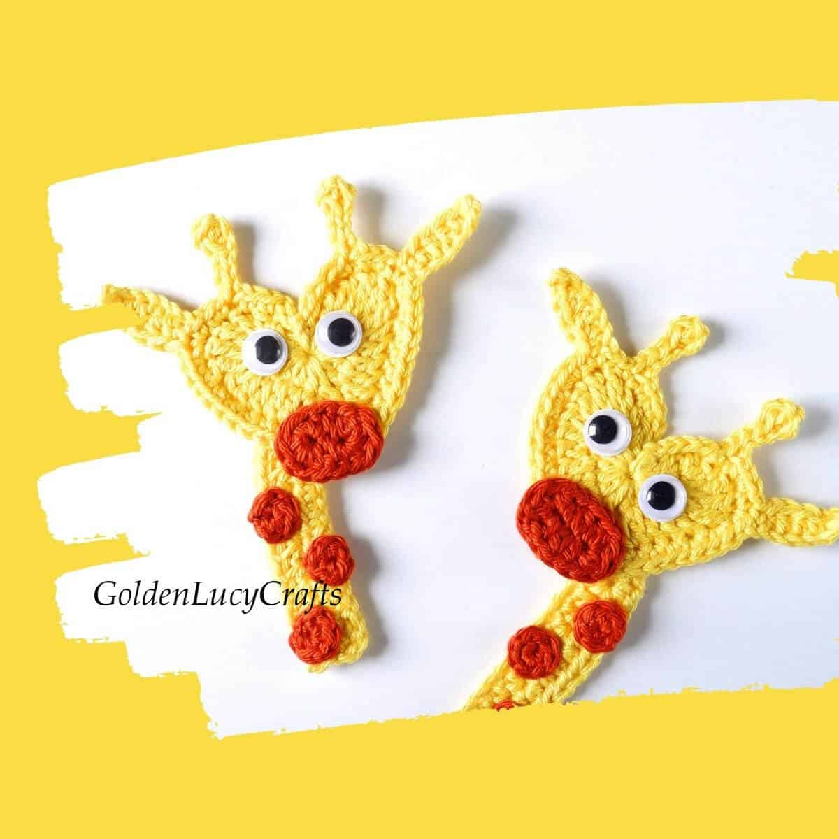 Two crocheted giraffe appliques.