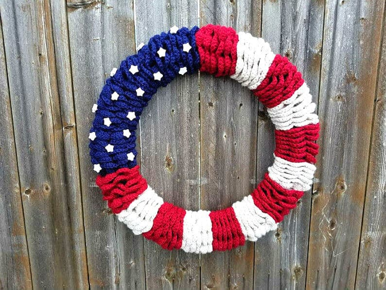 Crocheted wreath for the 4th of July.
