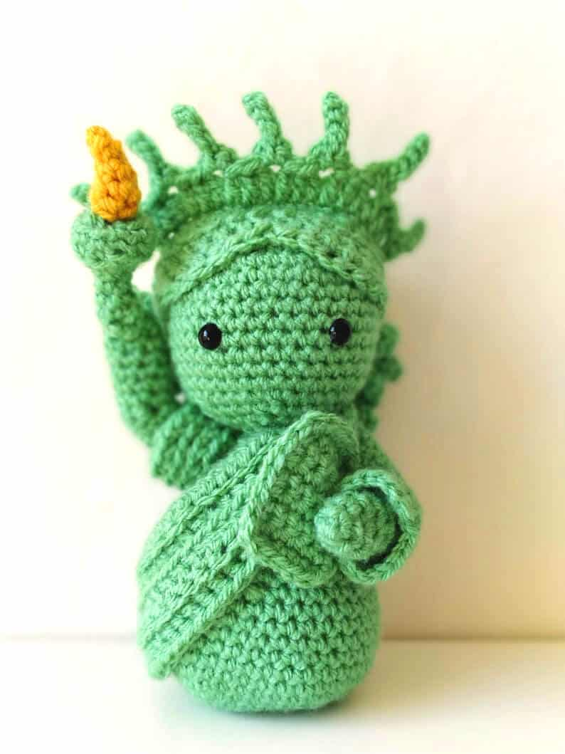 Crocheted statue of Liberty doll.