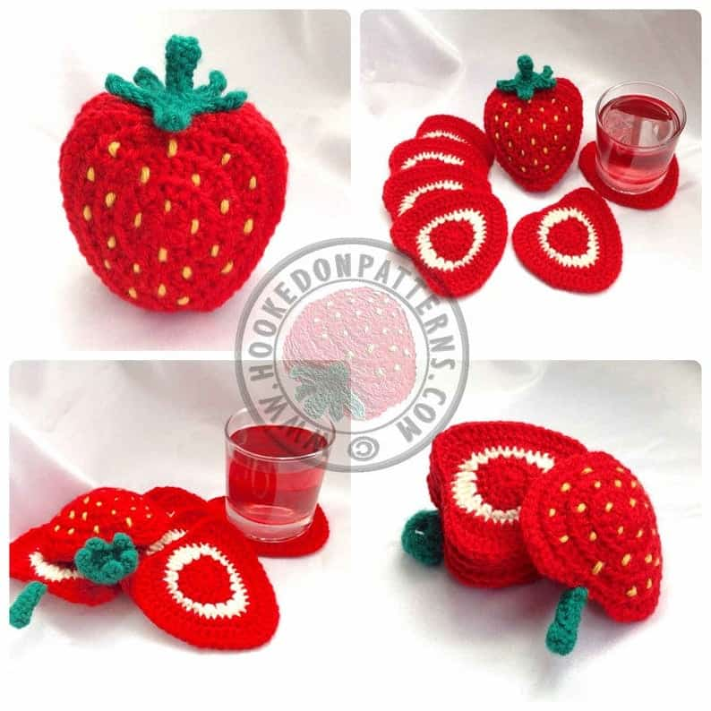 Crocheted strawberry coasters photo collage.