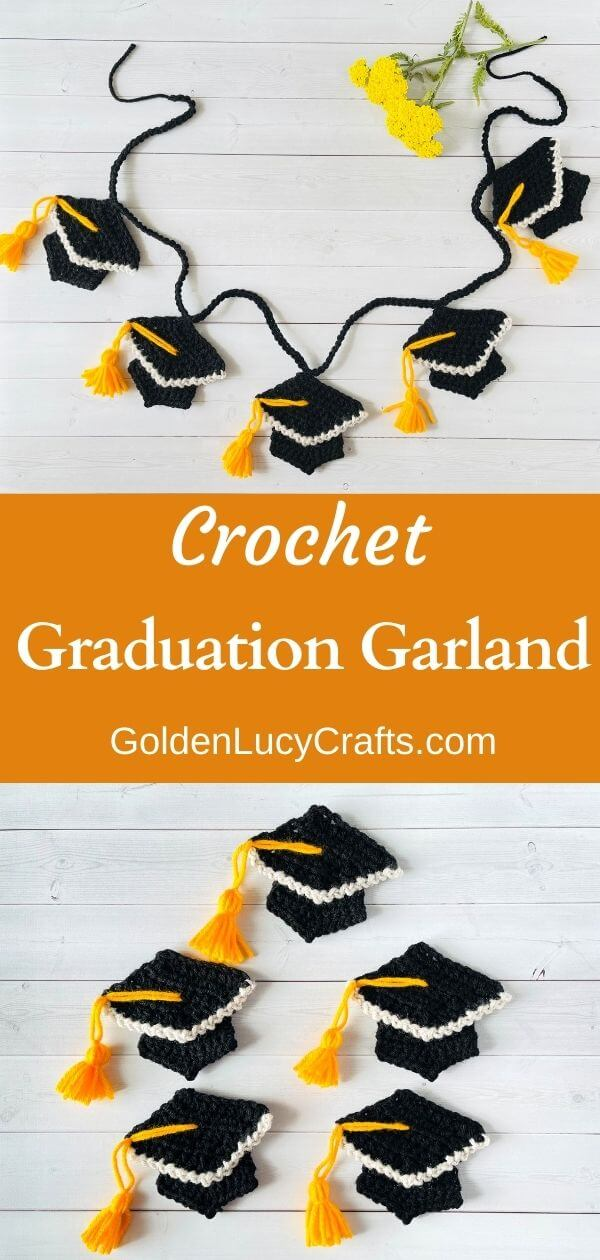 Crocheted graduation garland on top, five crocheted graduation caps in the bottom.