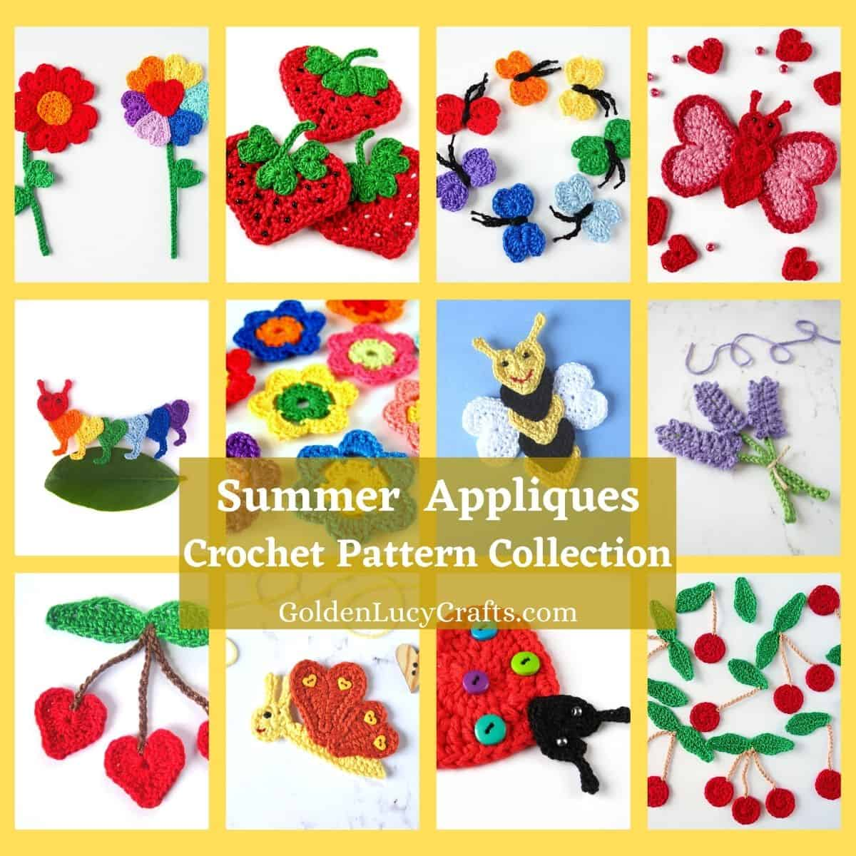 Collage de fotos de apliques de verano de ganchillo: flores, mariposas, bayas e insectos.