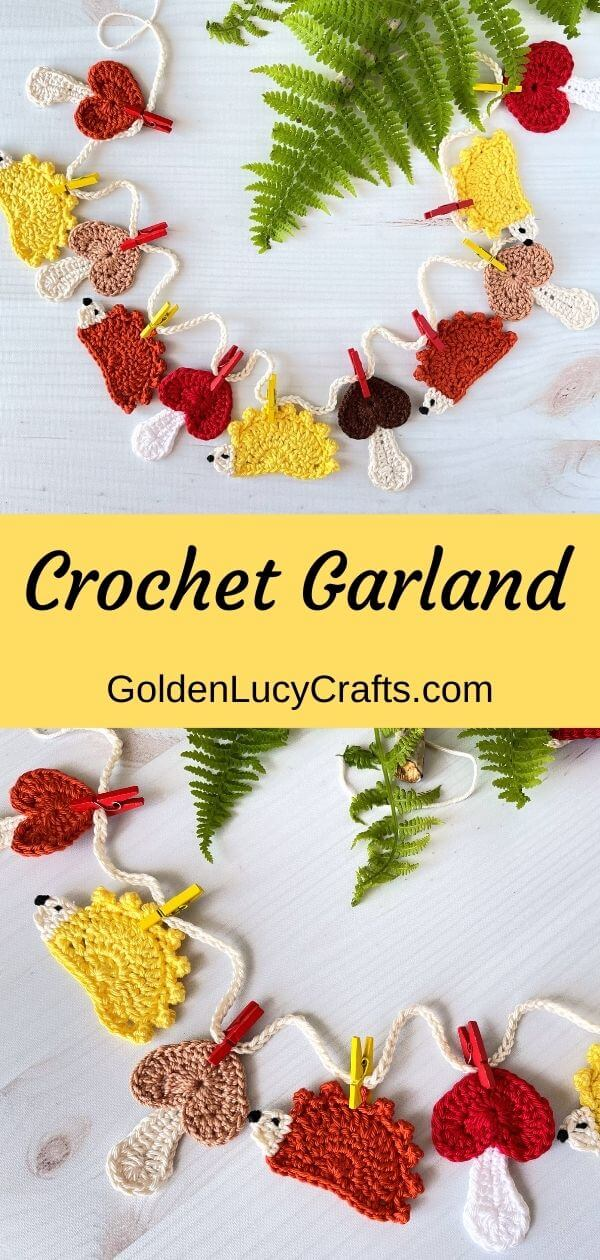 Crocheted garland woodland themed hedgehogs mushrooms attached with small clothespins to the string.