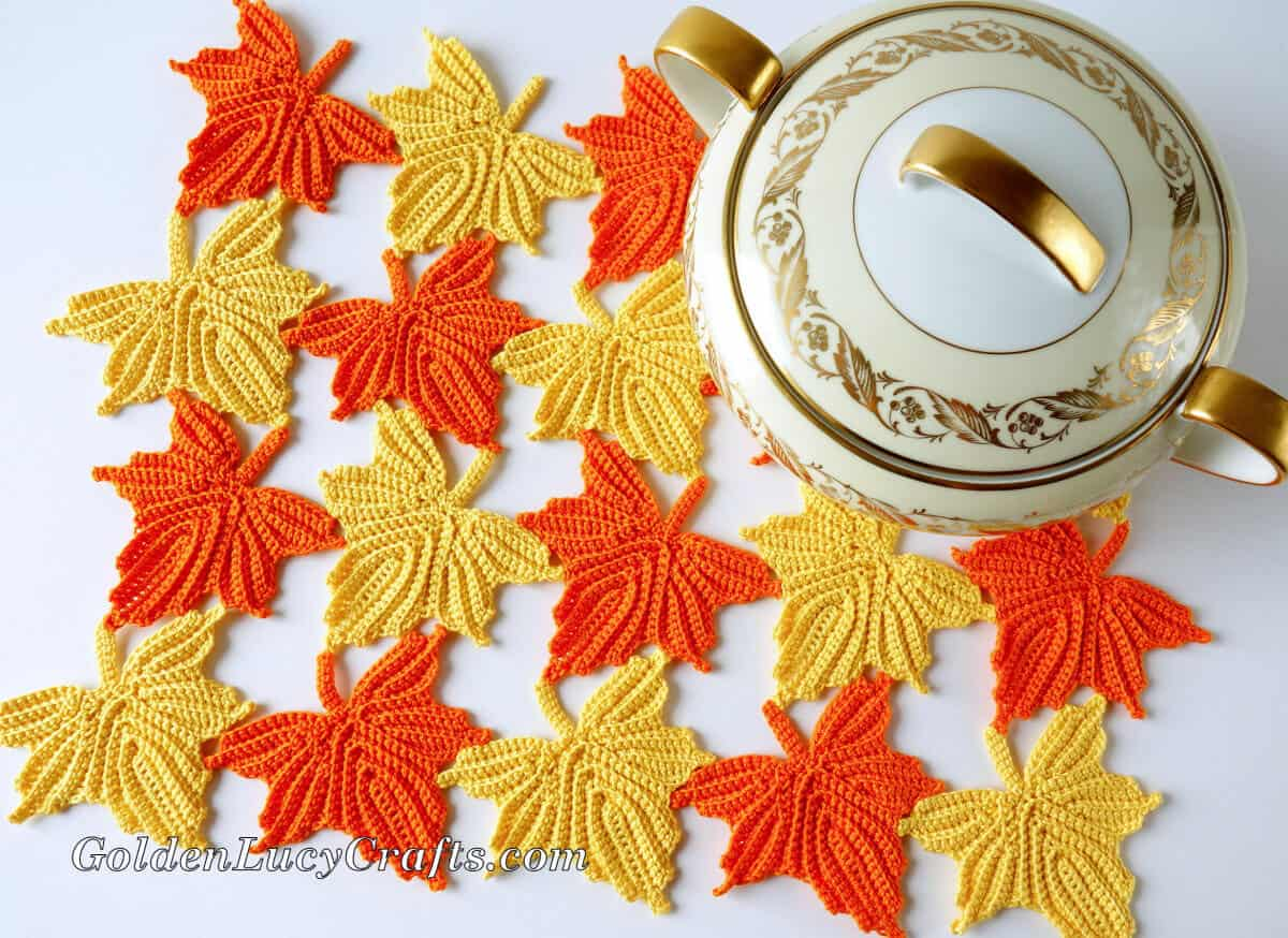 Crochet maple leaves table decor and sugar bowl, view from the top