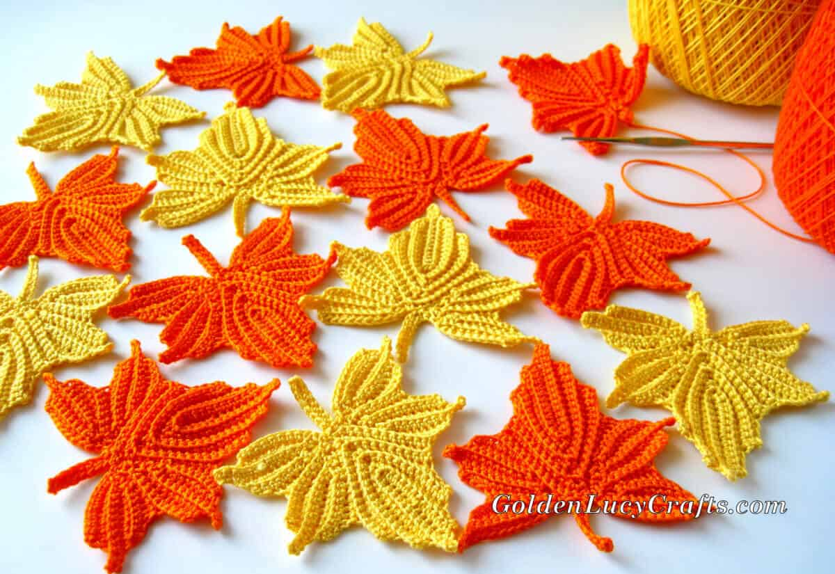 Bunch of crocheted maple leaves.