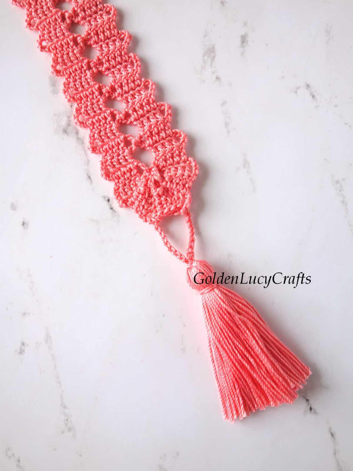 Crochet bookmark tassel close up picture.