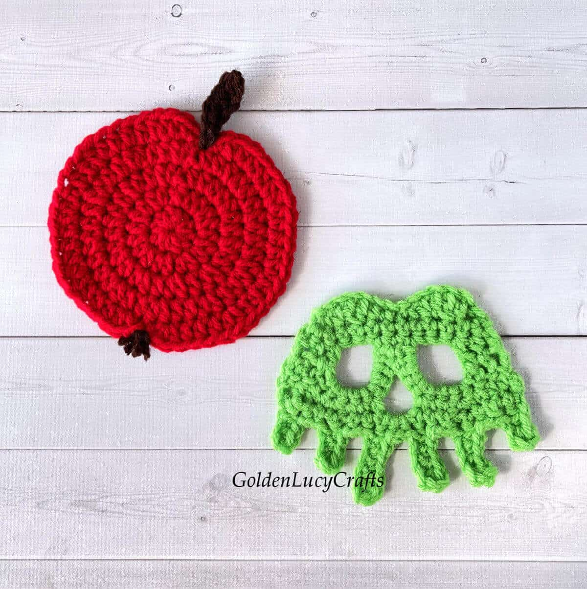 Parts of crocheted poisoned apple.