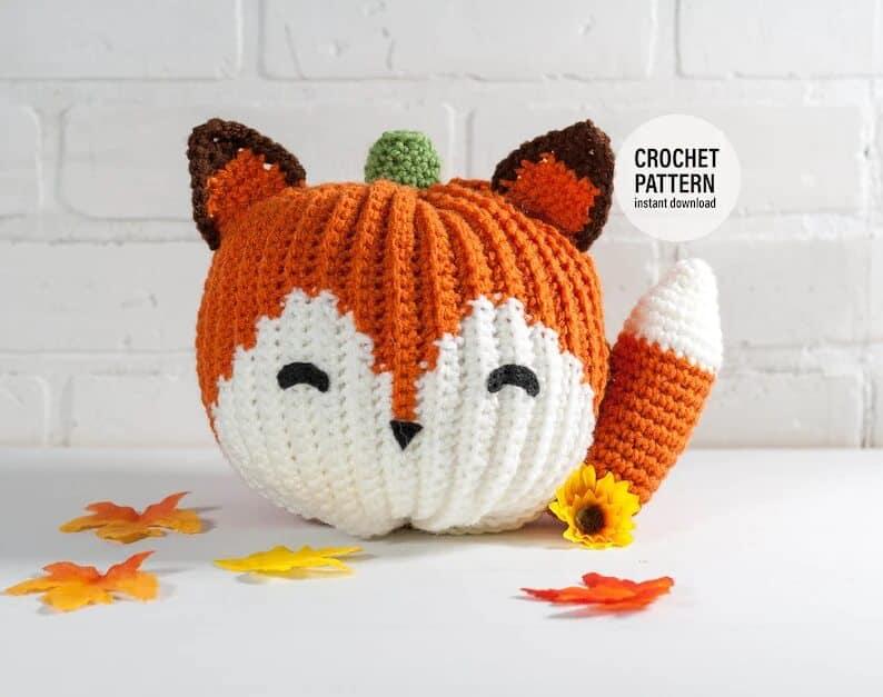 Crocheted Fox pumpkin.