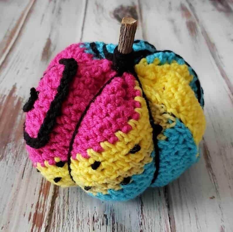 Crochet patchwork pumpkin.
