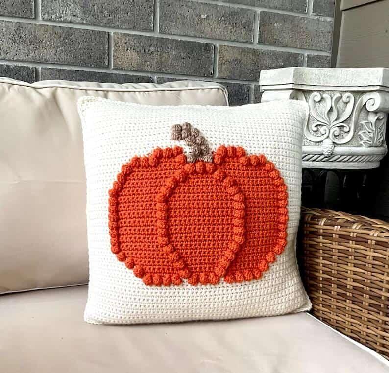 Crochet pumpkin pillow.