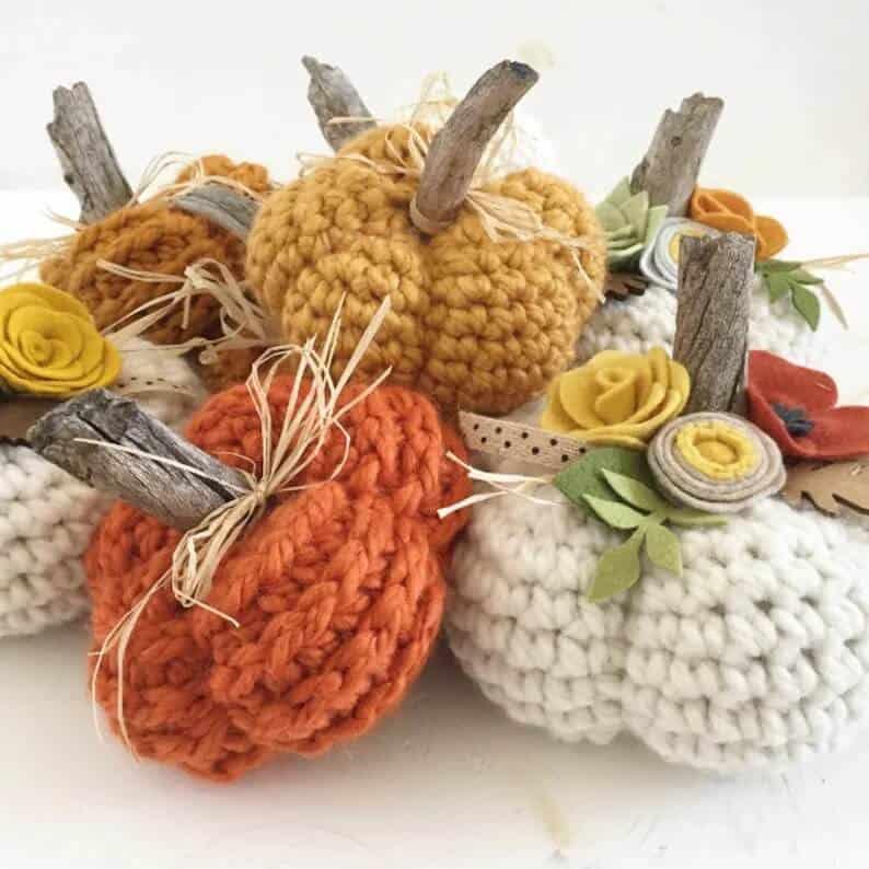 Bunch of crocheted pumpkins.