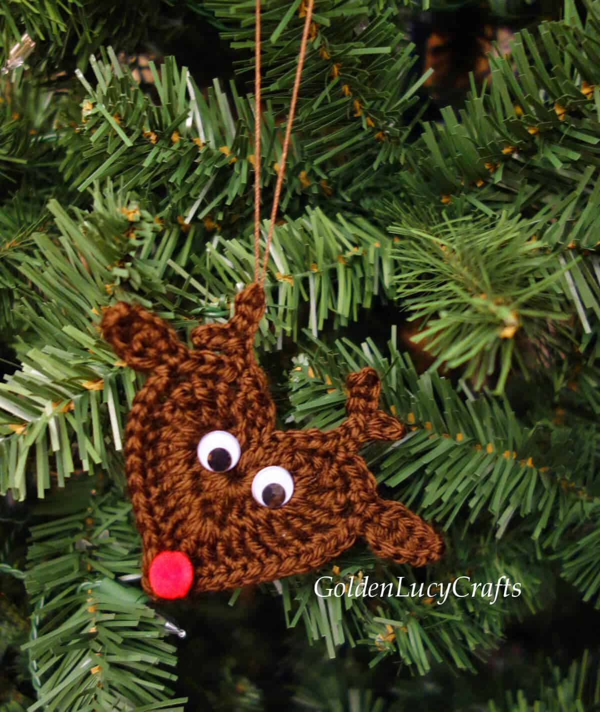 Crochet reindeer Christmas ornament.