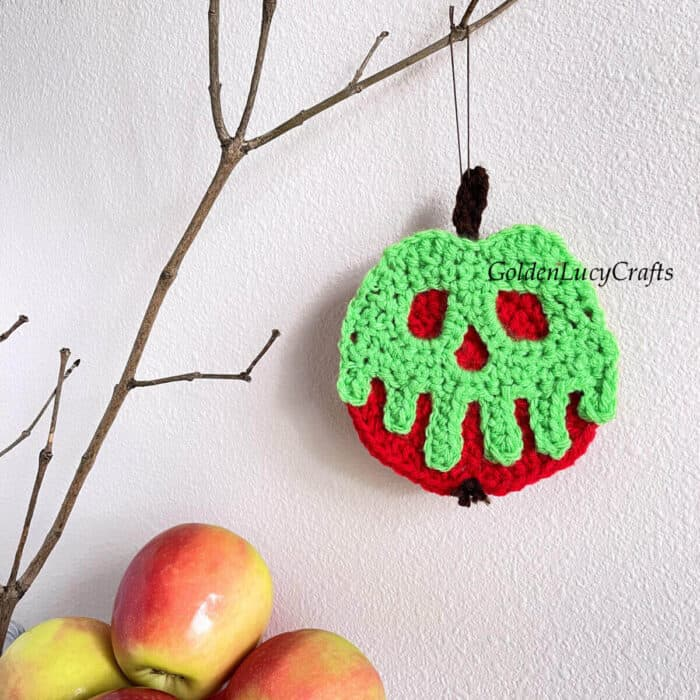 Crocheted poisoned apple ornament hanging on the branch.