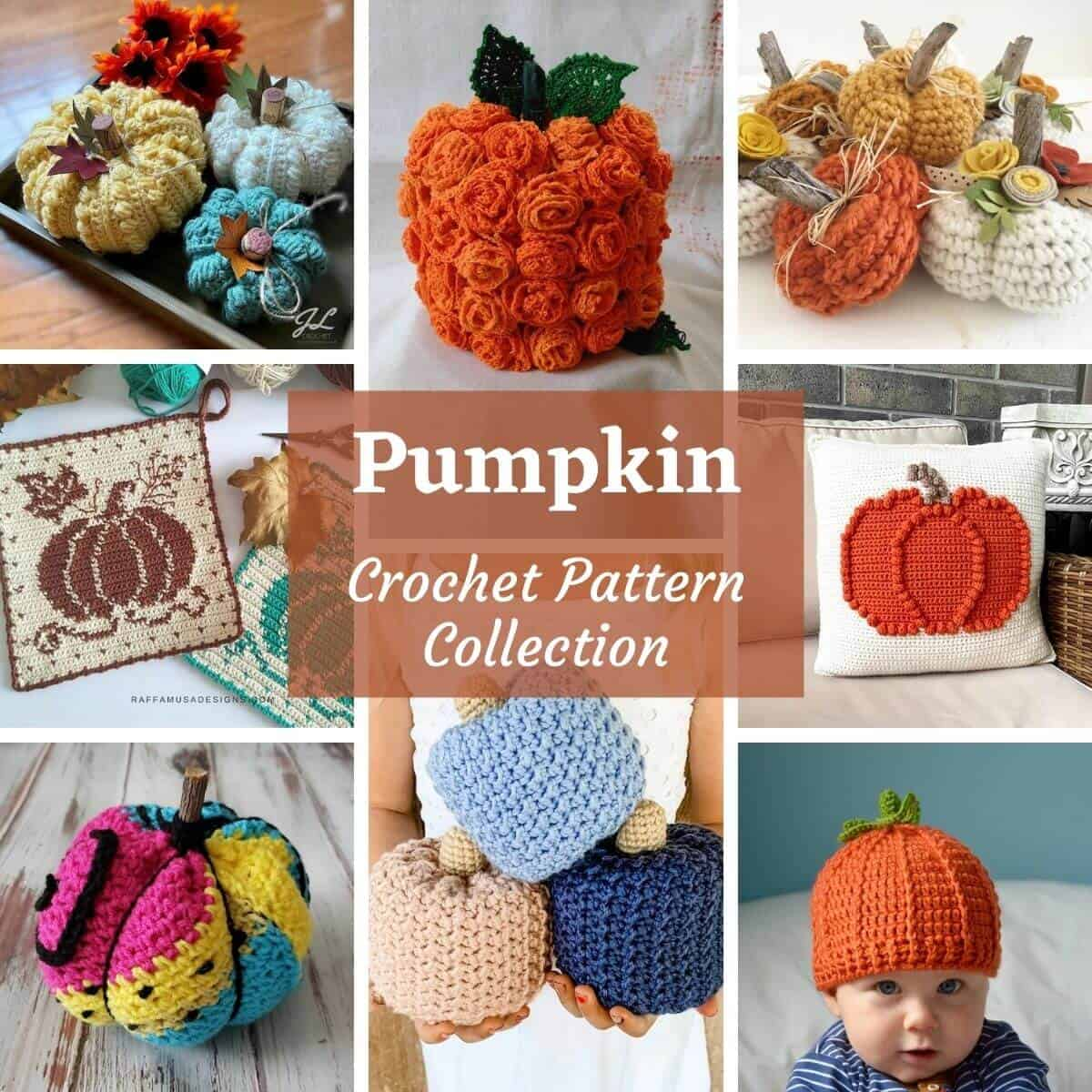 Photo collage of crocheted pumpkins, overlay text saying pumpkin crochet pattern collection.