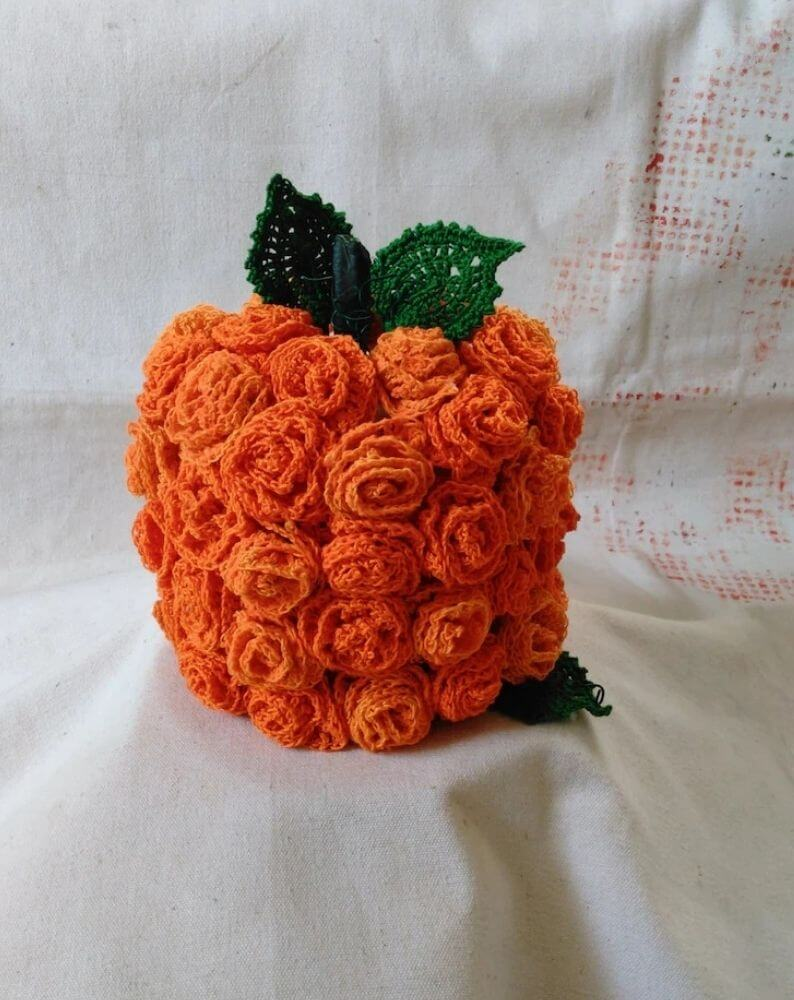 Pumpkin made from crocheted roses.