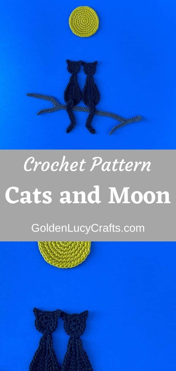 Crocheted black cats and moon on dark blue background, text saying crochet pattern cats and moon goldenlucycrafts.com.