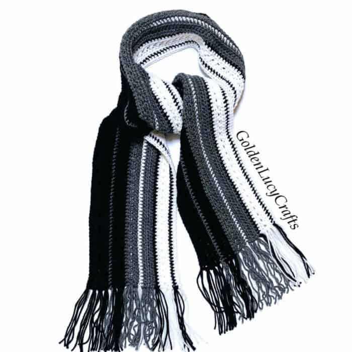 Crocheted textured scarf for men.