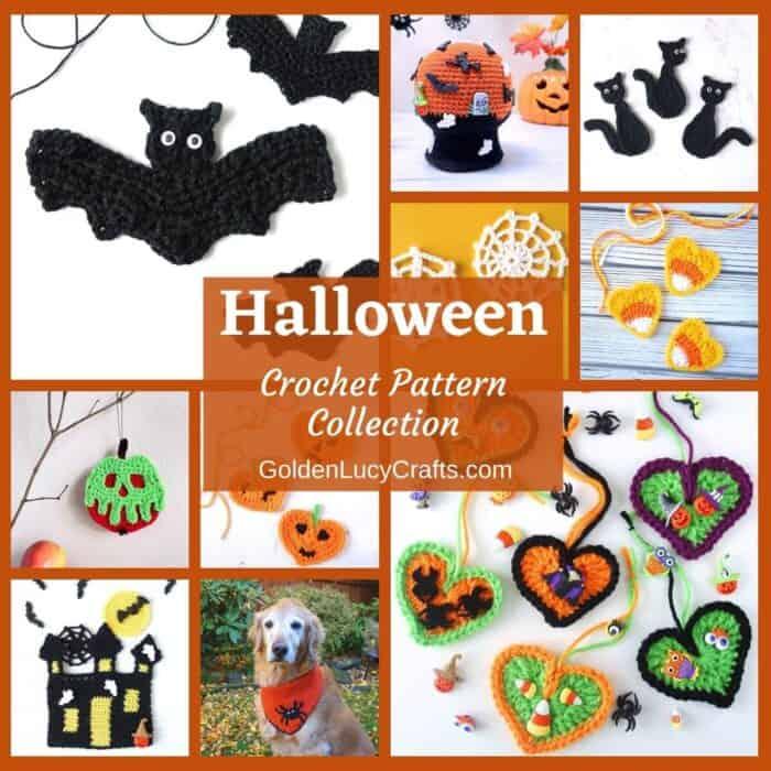 Crochet Halloween themed designs photo collage, overlay text saying Halloween crochet pattern collection goldenlucycrafts dot com.